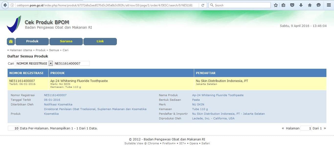 Pasta Gigi Pemutih Ap24 Nu Skin Jual Kosmetik Online Bpom