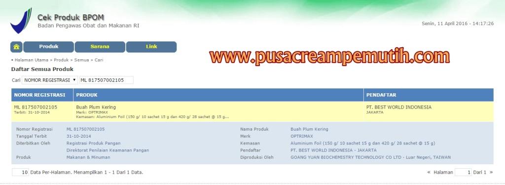 Nomor BPOM Optrimax Plum
