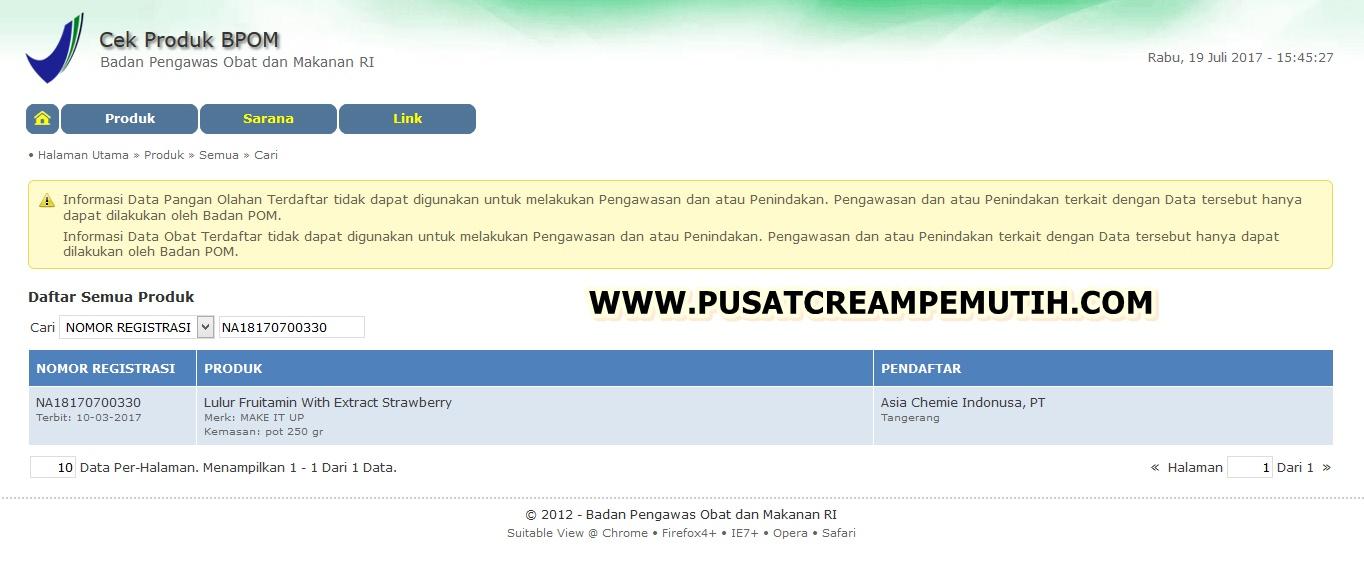 BPOM lulur fruitamin PC